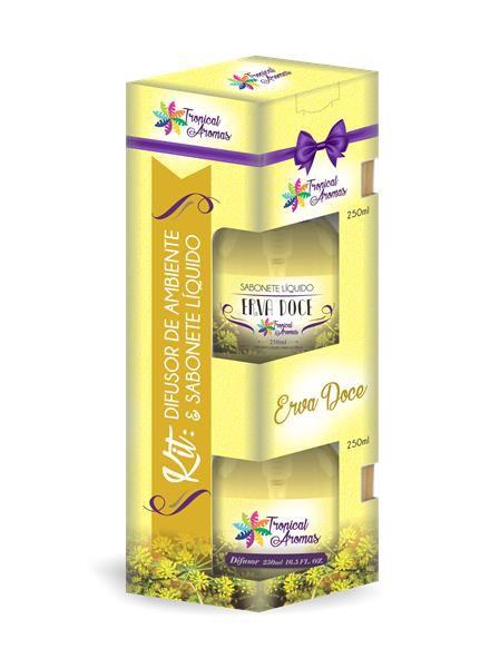 Kit Econômico 1 Sabonete Líquido c/ Válvula e 1 Refil Tropical Aromas Erva Doce 500ml