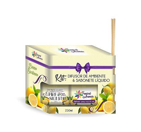 Kit refil difusor e Sabonete Líquido Limão Siciliano 250ml - Tropical Aromas