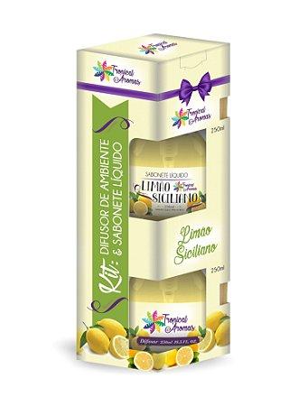 Kit difusor e sabonete líquido com Válvula- Limão Siciliano 250ml