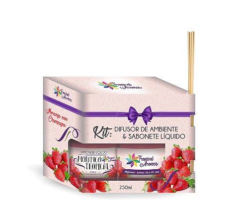 Kit refil Difusor e Sabonete Líquido Morango 250ml - Tropical Aromas