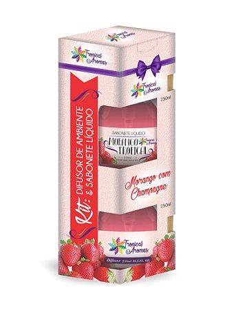 Kit difusor e sabonete líquido com Válvula- Morango 250ml