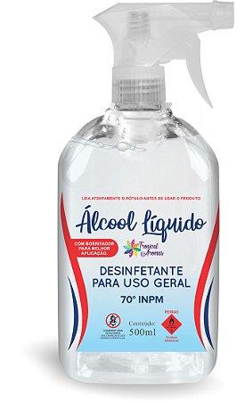 Álcool Líquido 70% 500ml com Borrifador - Tropical Aromas