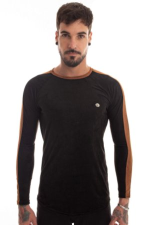 Camiseta Raglan Suede Preta