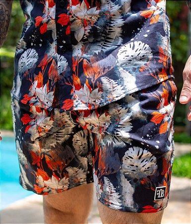 Shorts Floral Preto & Vermelho Tie Dye