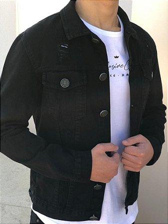 Jaqueta Jeans Destroyed Black