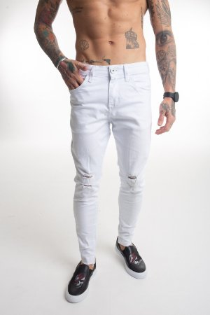 Calça Jeans Destroyed White