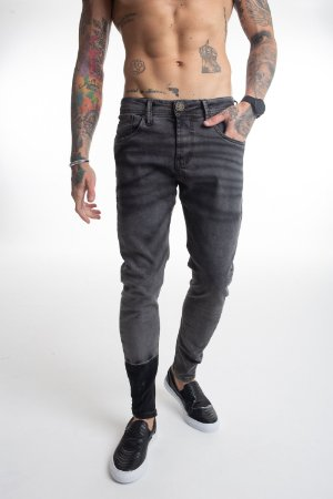 Calça Jeans Cinza Rajada