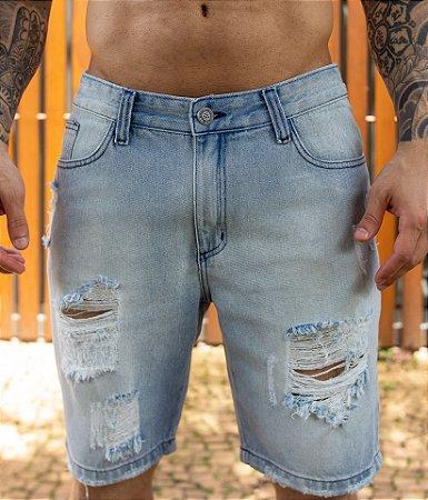 Bermuda Jeans Destroyed Azul Clara