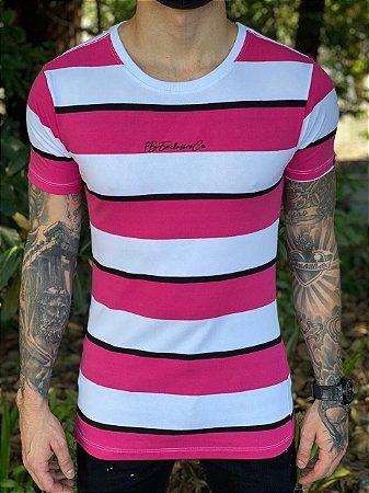 Camiseta Listrada Branca e Rosa