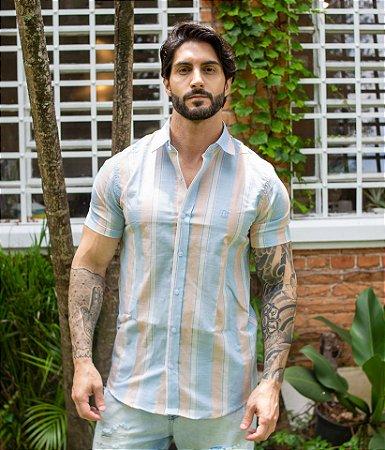 Camisa Listrada Flamê Azul Salmão
