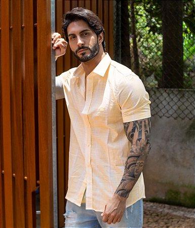 Camisa Listras Finas Amarela