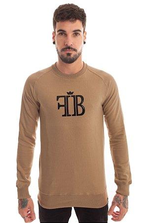Blusa Moletom Raglan Logo Verniz Caramelo