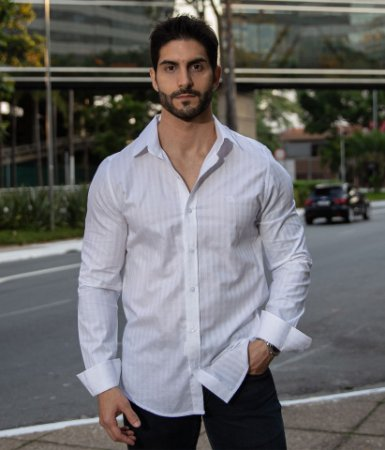 Camisa Branco Xadrez Maquinetado