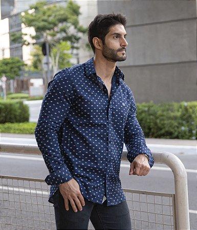 Camisa Azul Maquinetado Bicolor