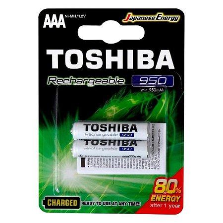 PILHA RECARREGAVEL TOSHIBA AAA 950MAH COM 2 PILHAS