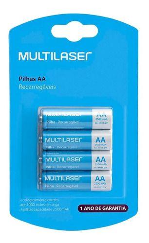 MULTILASER PILHA RECARREGAVEL AA C/4 CB052 2500MAH