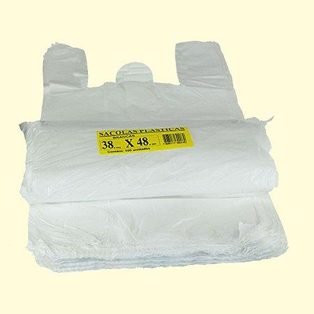 Sacola plástica 38x48cm branca c/100 unid