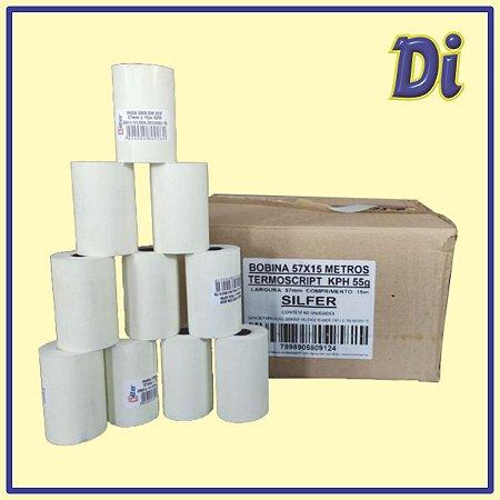 Bobina papel térmico 57mm x 15m - Cxa 60 unid