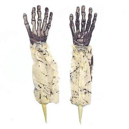 Mãos de Esqueleto para Decoração 2 unidades