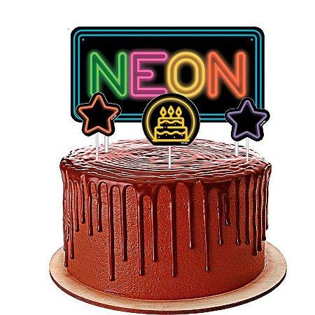 Topo de Bolo Neon Festcolor