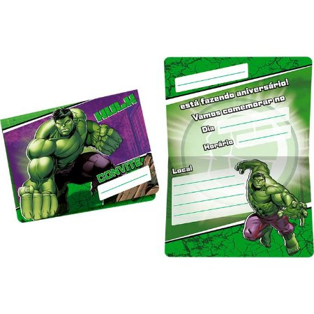Convite de Festa Hulk - 8 unidades