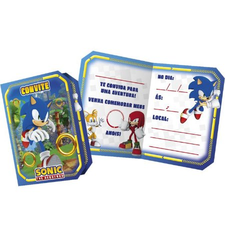 Conivite de Festa Sonic - 8 unidades