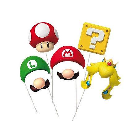 Plaquinhas para Foto Mario Bros - 8 unidades
