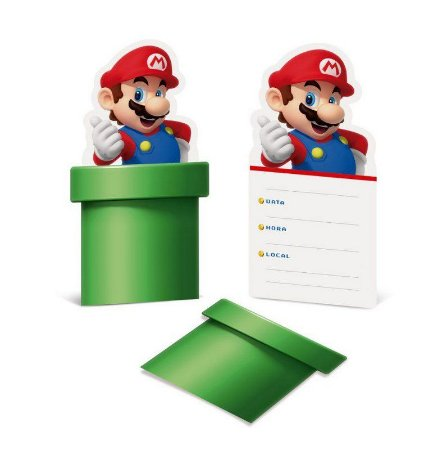Convite de Festa Super Mario Bros - 8 unidades