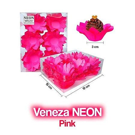 Forminha Veneza Rosa Neon - 40 unidades