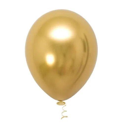 Balão Platinado Cromado Dourado - 25 unidades