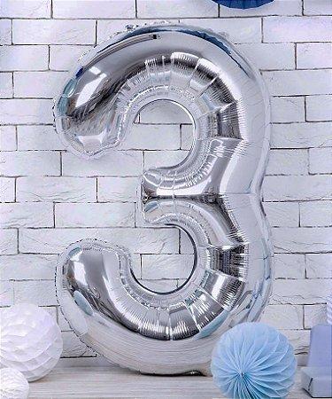 Balão Metalizado Prata Número - 1 metro
