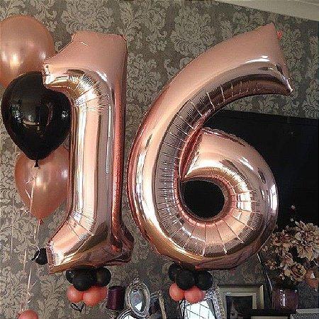 Balão Metalizado Rose Número - 1 metro