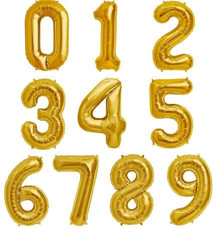 Balão Metalizado Dourado Número - 40 centímetros