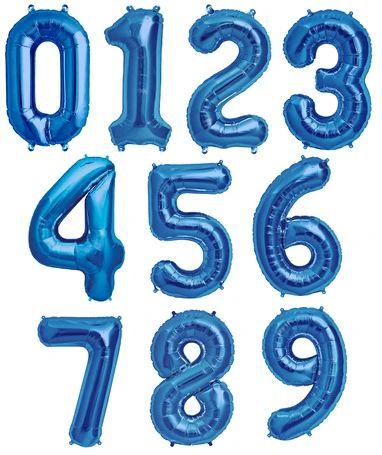 Balão Metalizado Azul Número - 40 centímetros