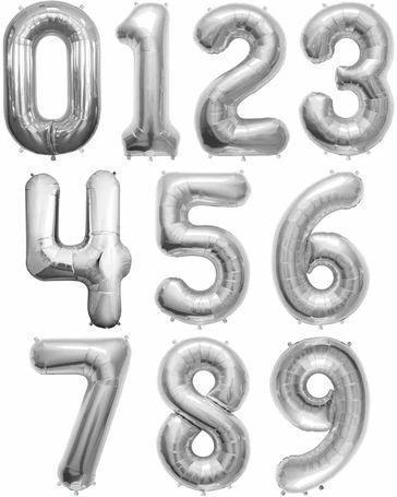 Balão Metalizado Prata Número - 40 centímetros