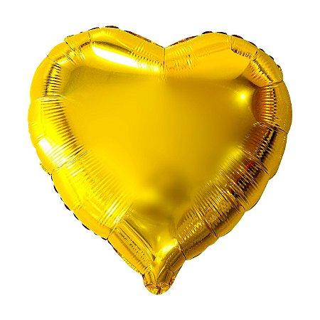 Balão Metalizado Coração Dourado - 45 centímetros