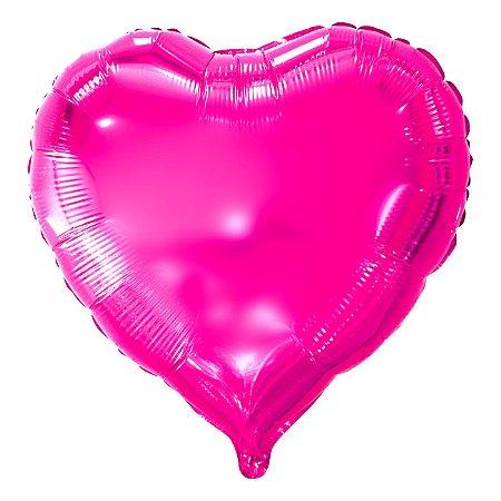 Balão Metalizado Coração Rosa - 45 centímetros