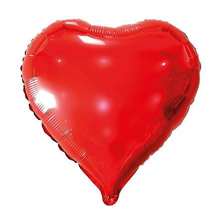 Balão Metalizado Coração Vermelho - 45 centímetros
