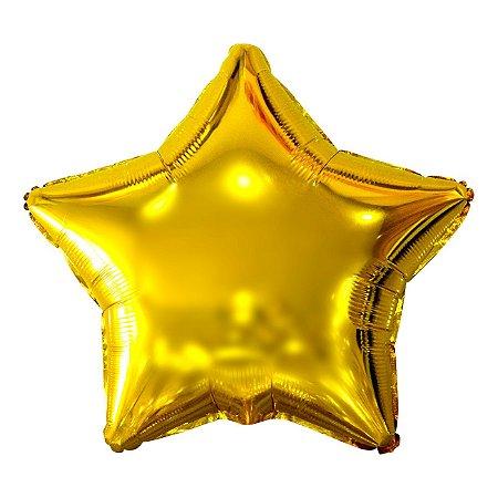 Balão Metalizado Estrela Dourada- 45 centímetros
