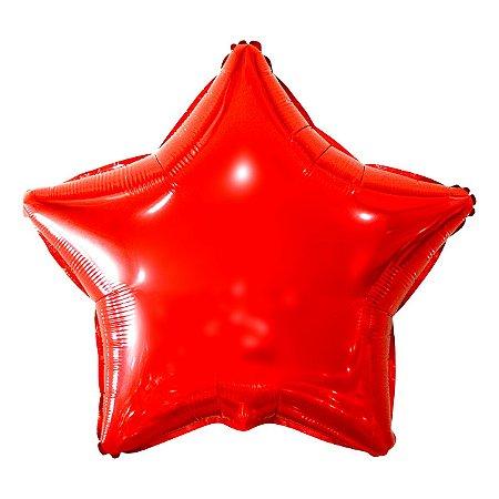 Balão Metalizado Estrela Vermelha - 45 centímetros