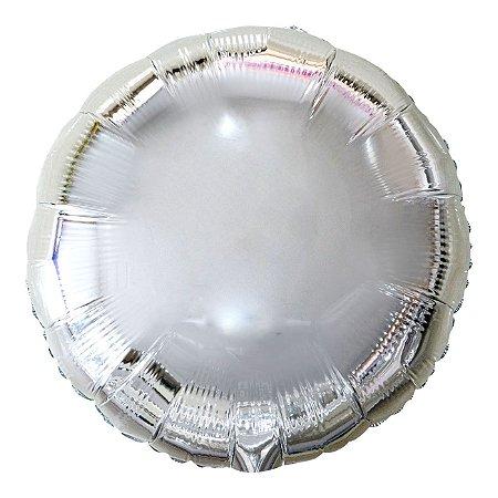 Balão Metalizado Redondo Prata - 45 centímetros