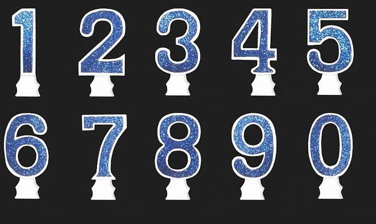Vela Glitter Numeral Azul