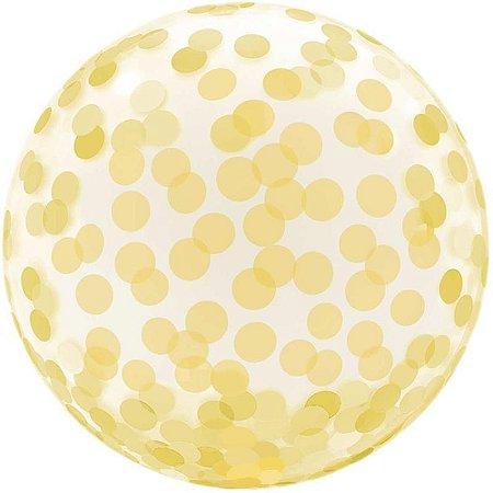 Balão Bubble Estampado Dourado 45 centímetros