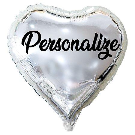 Balão Metalizado Coração Personalizado - Letra Alegra Preta