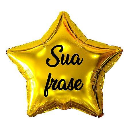 Balão Metalizado Estrela Personalizado - Letra Alegra Preta