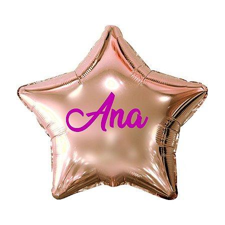 Balão Metalizado Estrela Personalizado - Letra Alegra Pink