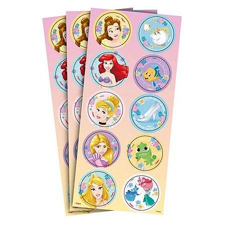 Adesivo Princesas Disney - 3 cartelas