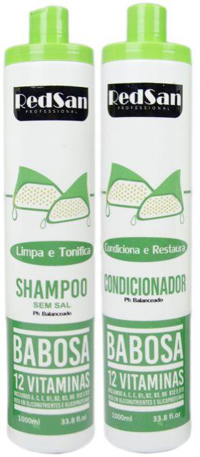 Shampoo E Condicionador Babosa Kit 1lt Redsan Professional