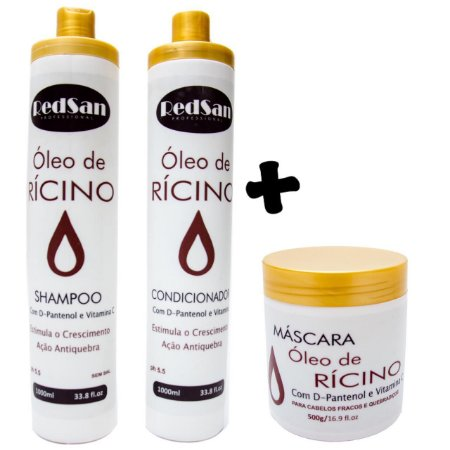Kit Shampoo E Condicionador e Máscara Ricíno