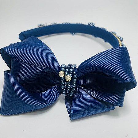 Tiara Laço Cetim e Brilhantes Azul